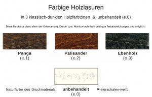 3 und 1 dunkle Holzlasuren, ökologisch und ungiftig, für Lebensmittel und Kinderspielzeug geeignet